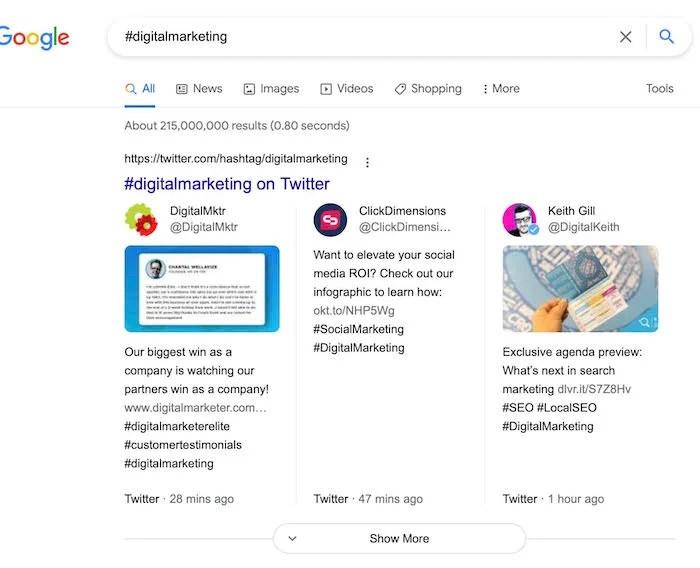 Google Secrets - Hashtag Search