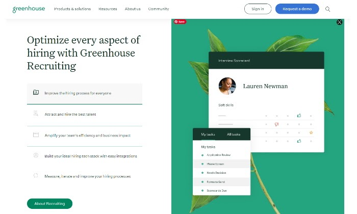 Greenhouse main page for Best Recruiting Software