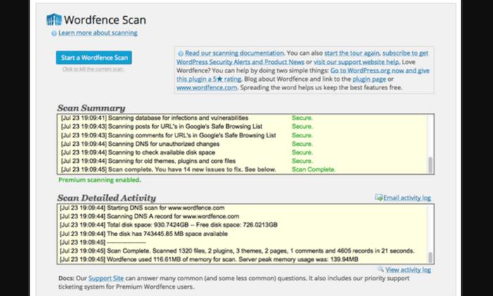 Wordfence Security scan for Best WordPress Plugins
