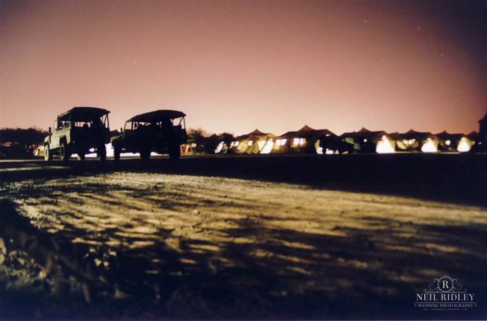 Lancashire Wedding Photographer - British Military Land Rovers and tents at night in Kuwait