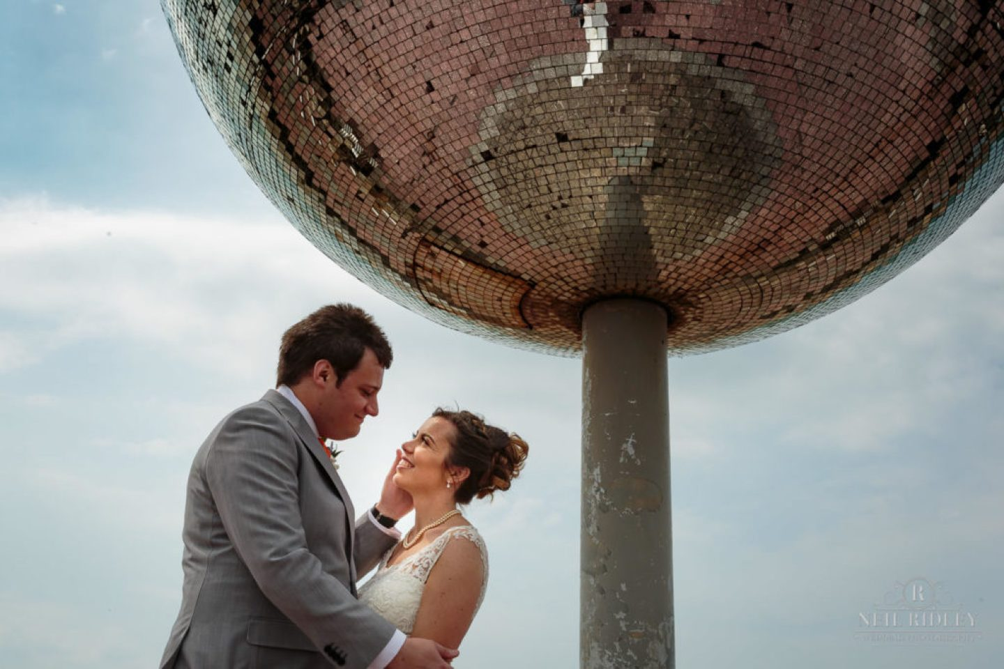 Bride and Groom at The Glitter ball on Blackpool Promenade