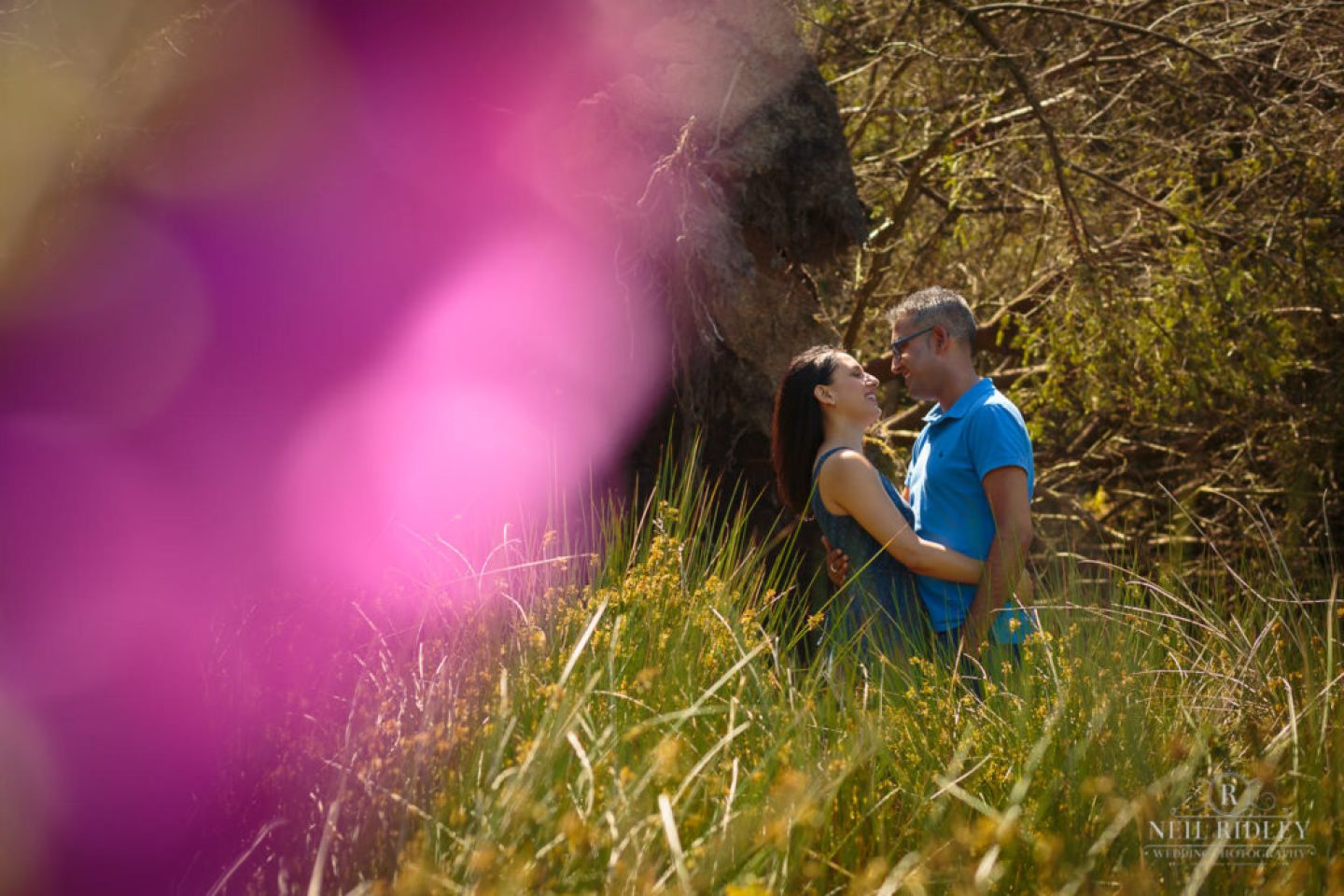 Engagement Shoot Couple in the forest at Beacon Fell Lancashire with a purple flower in the foreground