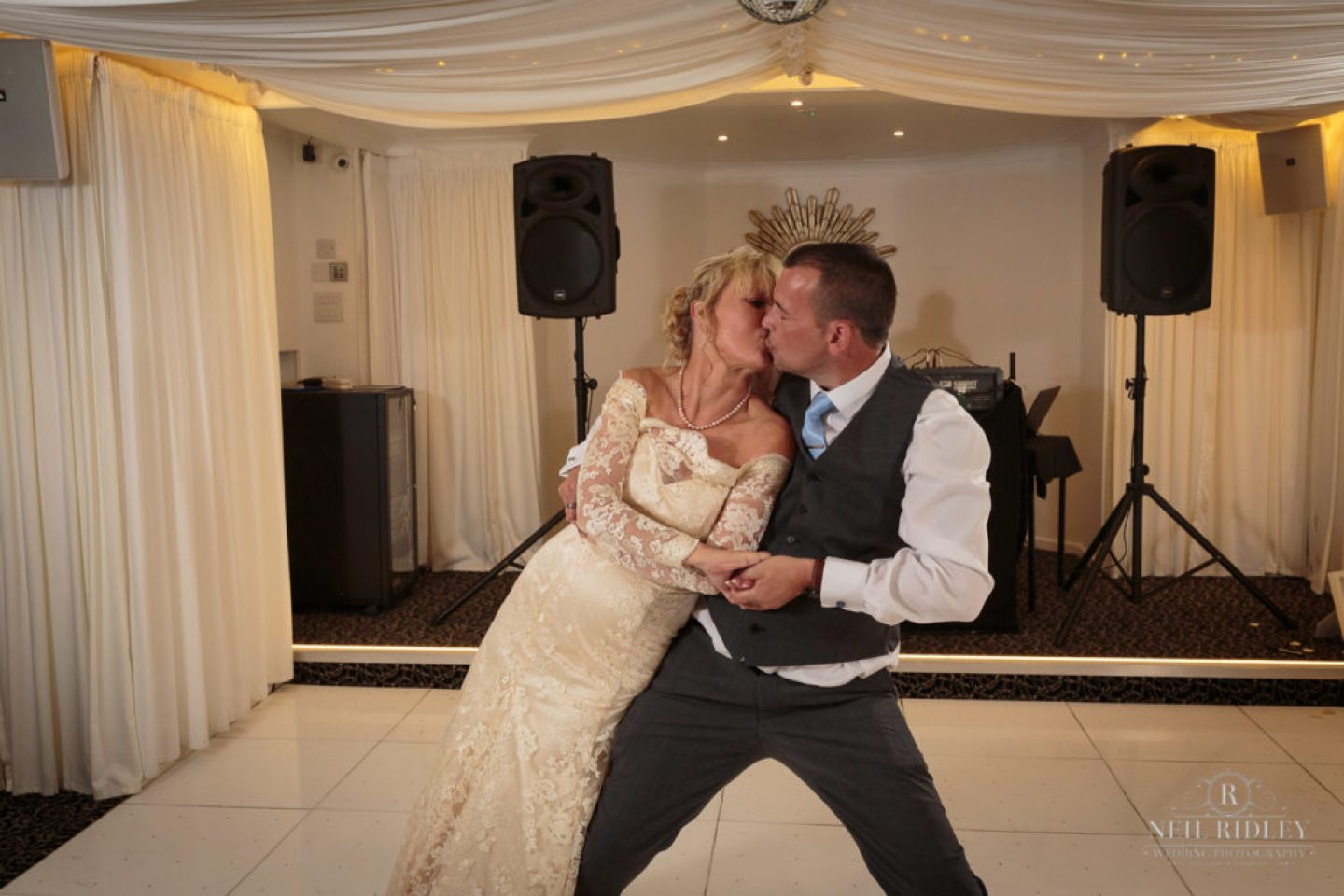 Bride and Groom on dance floor for First Dance at The Park House Hotel, Blackpool