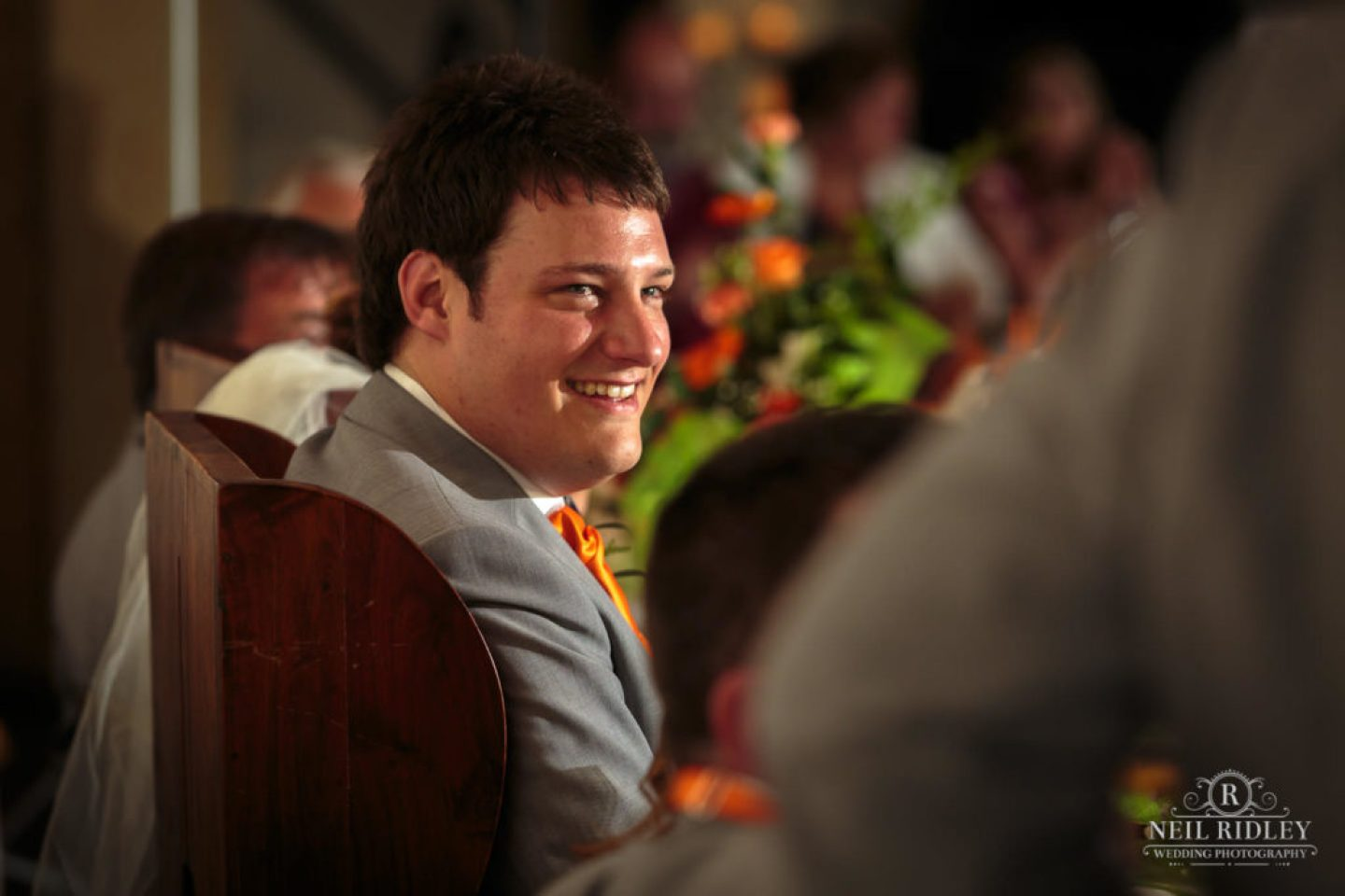 Groom listens to speech at The Great Hall at Mains