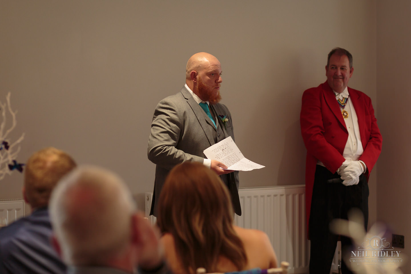 Best Man delivers his speech at The Mill at Conder Green