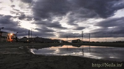 Sunset in a puddle on the first night at Mulegé
