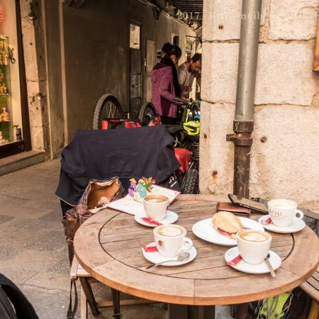 Coffee and tyre pressure check
