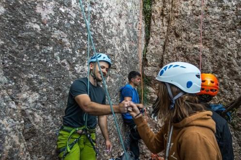 Fist bump after a good climb