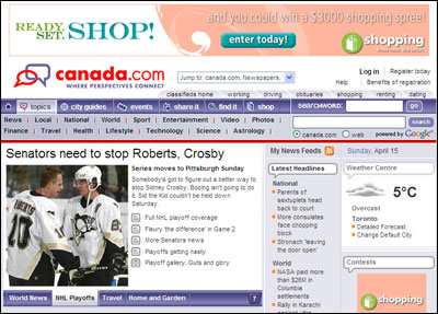 CanWest's Canadian web portal canada.com
