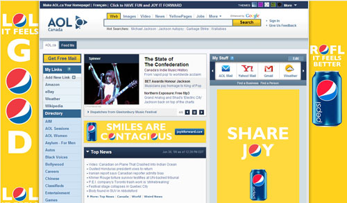 New AOL Canada front page