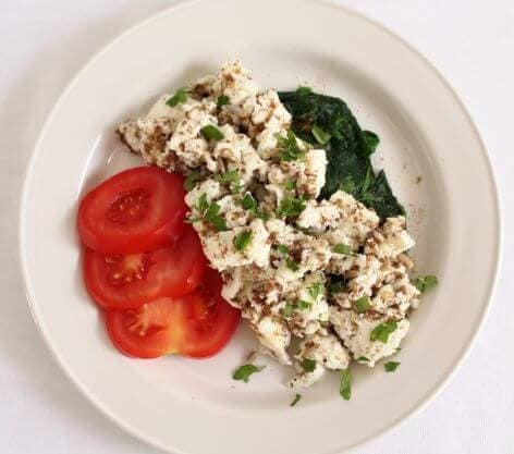 Scrambled egg whites and spinach served