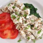 Healthy Scrambled Egg Whites, with Flax Seeds, Spinach and Nutmeg