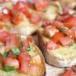 Mini Bruschetta with Cherry Tomatoes and Basil