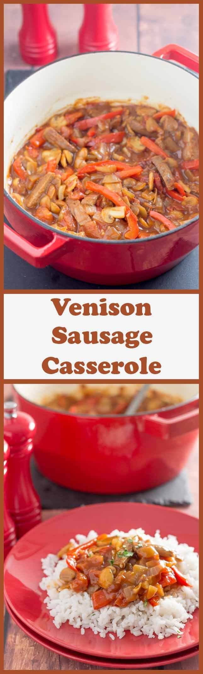 Low fat venison sausage casserole is an extremely tasty and easy one pot budget family meal. Made in just one hour, you'll want to add this recipe to your quick healthy meals dinner list!