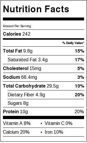 Perfect Porridge with Oatmeal Nutrition Label