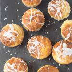 These skinny coconut and vanilla muffins are made with Greek yogurt and no butter helping to keep the calorie and fat count as low as possible. Delicious and with a moist centre they make for a perfect healthy snack!