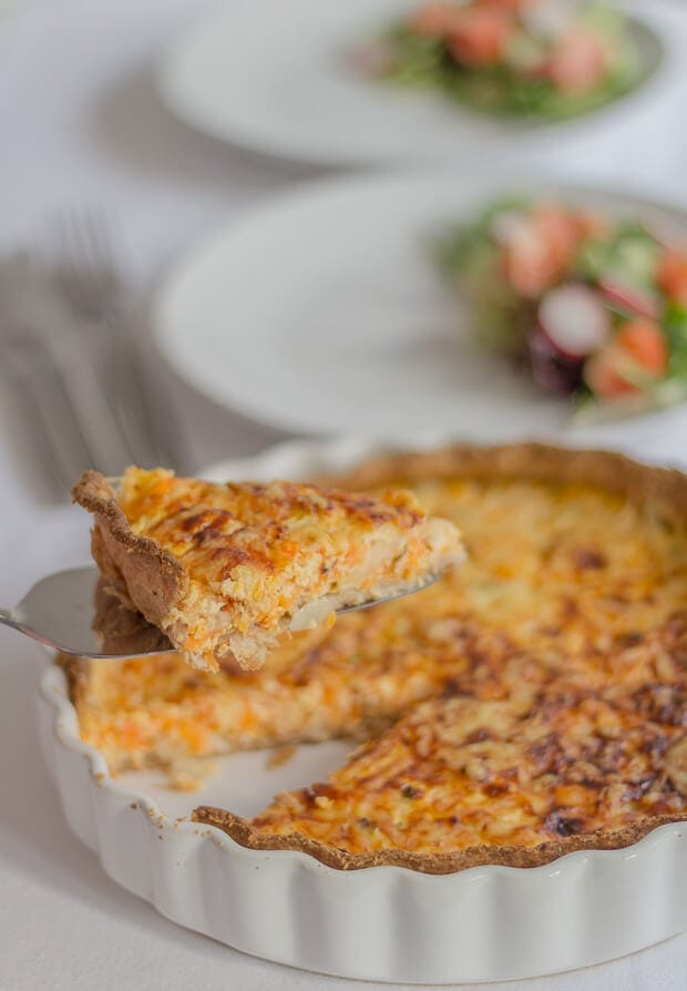This carrot and quark quiche is such a perfect low calorie versatile dish to make and serve for family and friends. Maybe as a light lunch, or as a dinner option with vegetables or salad? Either way it's delicious to eat hot, or cold, easily transported as a work packed lunch option and can be frozen too. Plus you'll get 8 portions from this quick healthy recipe, giving you plenty to go round.