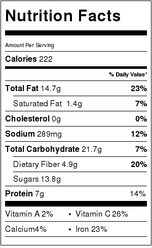 Low Fat Red Pesto Dip Nutrition Label