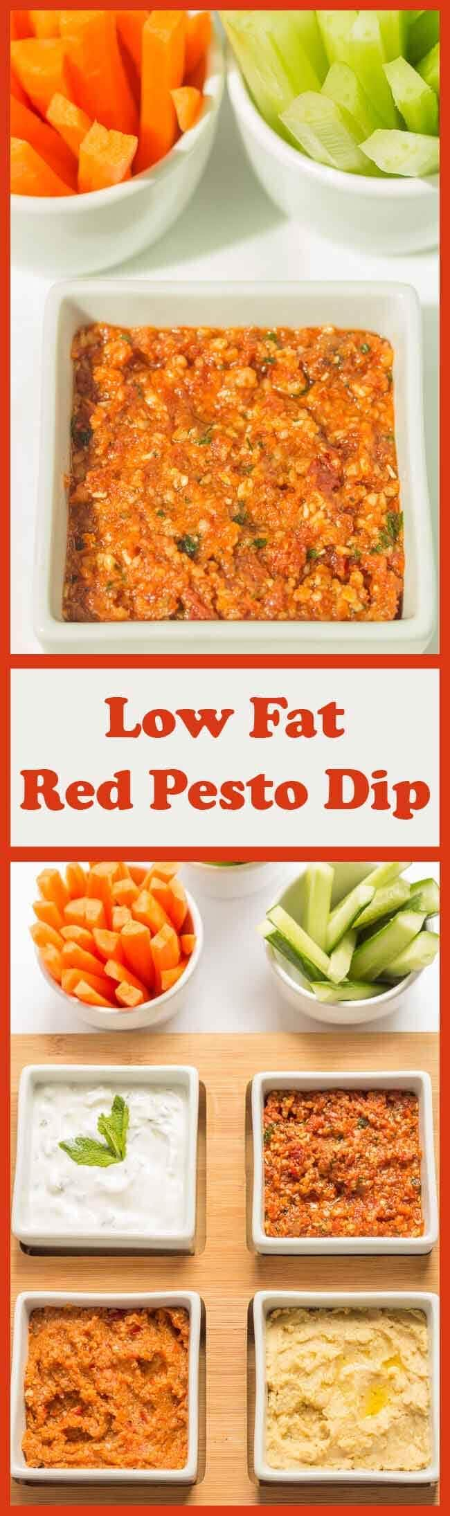 You'll love this healthy low fat red pesto dip recipe. It's so quick and easy to make and ideal to share with friends. Delicious Mediterranean flavours will remind you of sun drenched days, no matter what time of year you're eating this and whatever the weather!