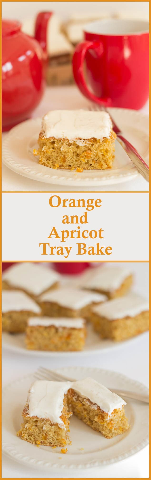 A healthier bake for your morning or afternoon cuppa! This low fat orange and apricot tray bake, will satisfy your craving at only 246 calories per slice!