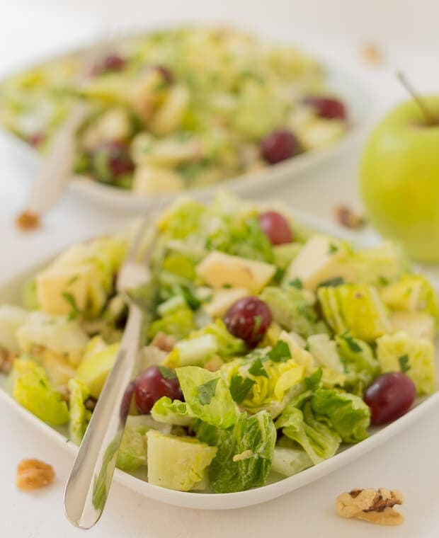 This is my take on the classic Waldorf salad, made with a reduced fat, reduced calorie dressing. It's easy and quick to make up in the morning and take in as a packed lunch to work, or even to prepare as a quick healthy snack.