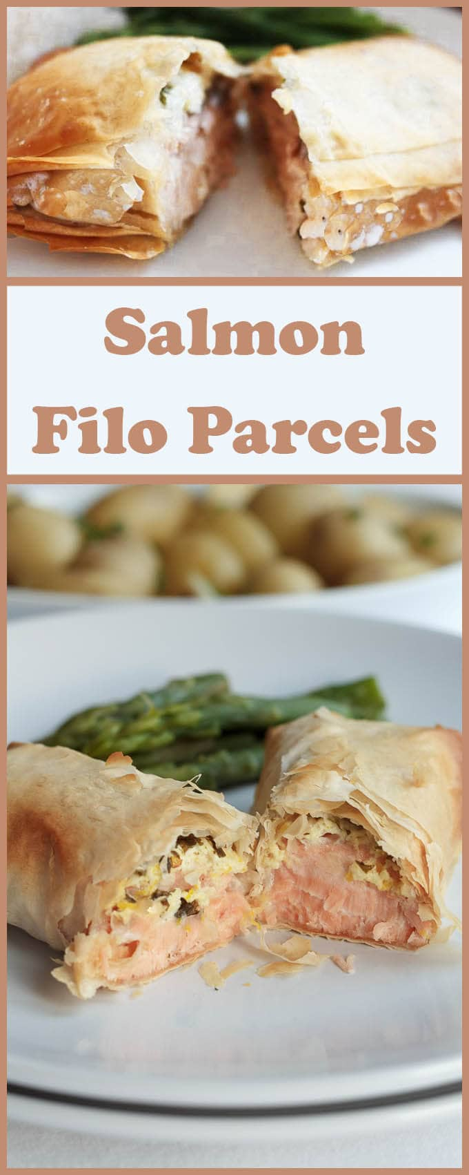 Its simple using filo pastry for these salmon filo parcels. Filo is much easier to roll than traditional pastry and it doesn't have the high levels of saturated fat neither!