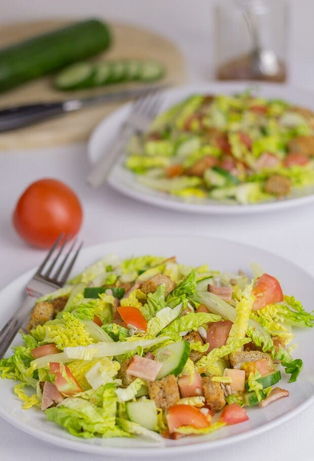 Turkey bacon lettace and tomato salad featured image