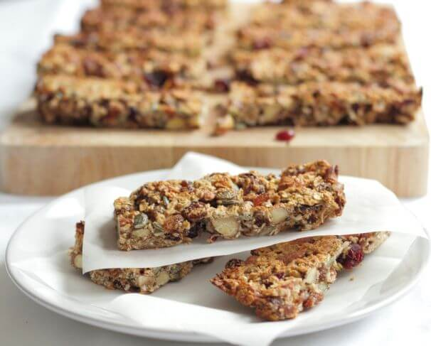 These healthy fruit and nut snack bars are tasty, chewy, and crammed with fruits, nuts and seeds. Providing vital vitamins and minerals and at only 200 calories each, they'll help you avoid the temptation of reaching for those not so healthy snacks!