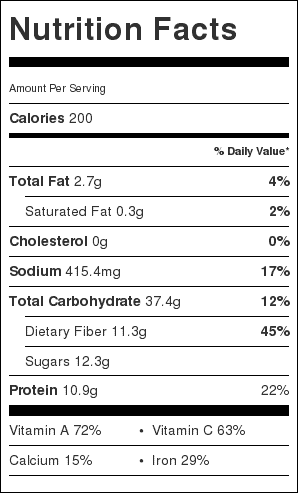 Tomato and White Bean Soup Nutrition Label
