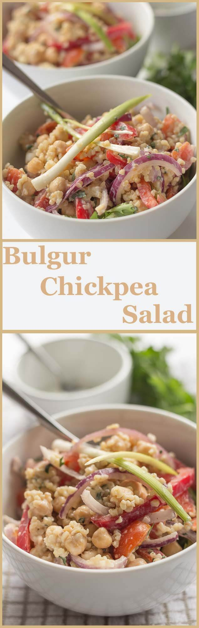 This bulgur chickpea salad has a lovely creamy yogurt and fresh herb dressing, and combined with all the fresh ingredients it makes such a nutritious, filling dish.