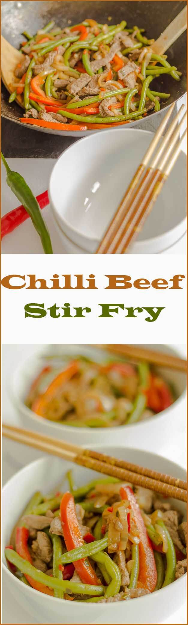 Chilli beef stir fry. Thin strips of steak, pepper and green beans cooked in a tasty sauce make up this sensational easy, healthy stir fry. Wok to table in just over 30 minutes!