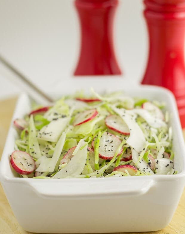 This cabbage and radish slaw is a wonderfully quick, freshly tasting and healthy side dish to go with your BBQ's and salads! At only 62 calories a serving, there's no guilt with piling this high on your plate!