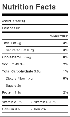 Cabbage and Radish Slaw Nutrition Label