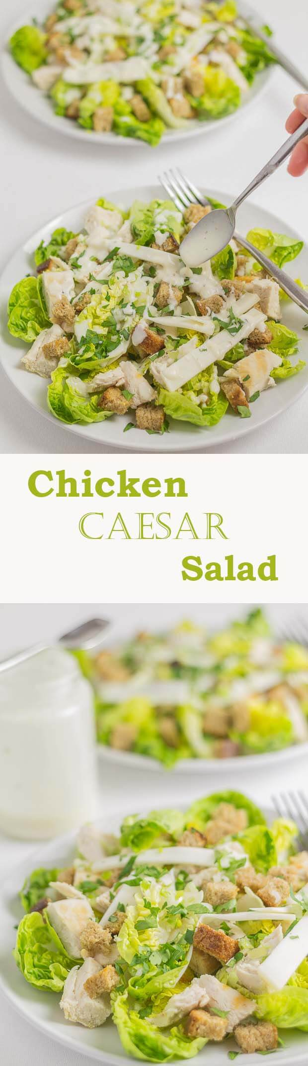 Chicken Caesar salad made healthier with wholemeal croutons and a lower calorie dressing. It's basically the same taste as the delicious original, you just wont be counting the impact of the calories with this version!