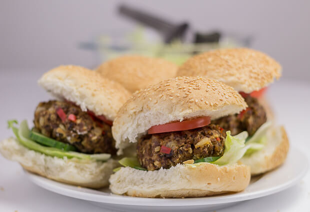 Home-made quorn burgers 4 on plate