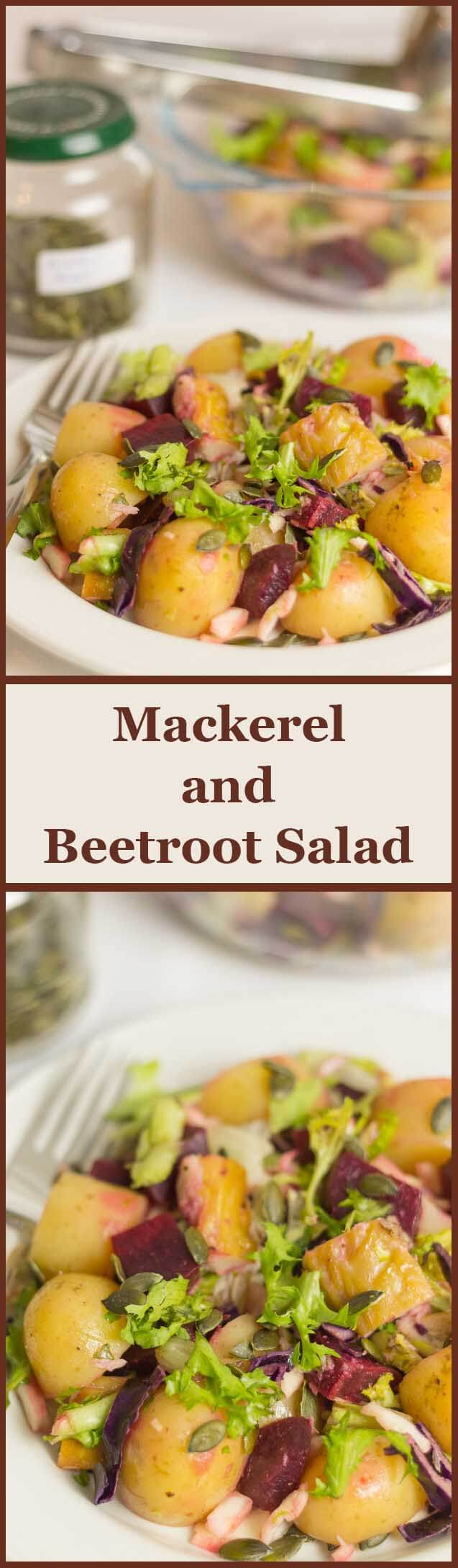 This mackerel beetroot salad is a perfect nutritious packed lunch option. It's rich in healthy oils like Omega-3 and Omega-6. And it's packed with essential vitamins and minerals too.