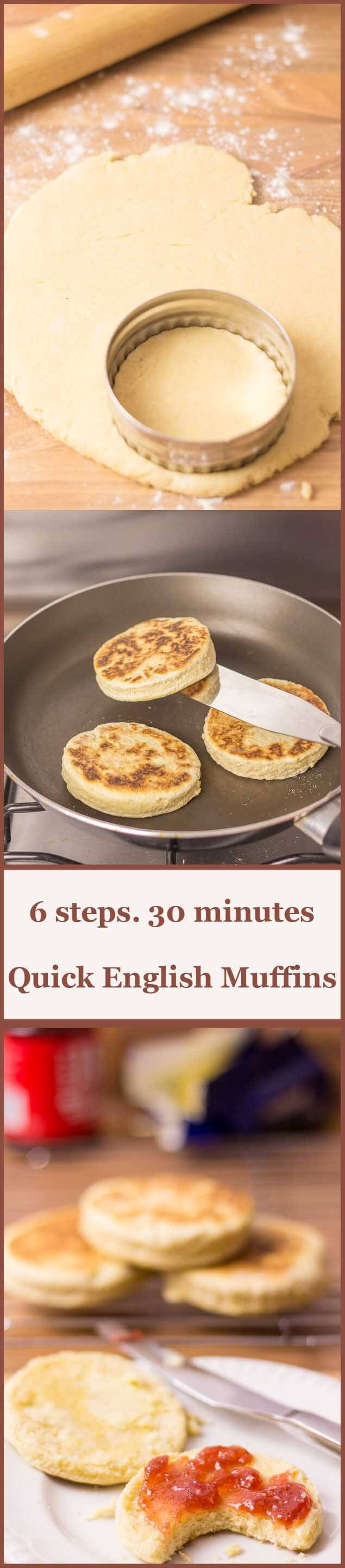 Just 6 ingredients and 6 steps and you'll have these super tasty quick English muffins ready to smother in your favourite toppings in just over half an hour!