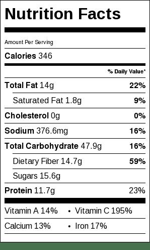 Roast Summer Vegetables Nutrition Label