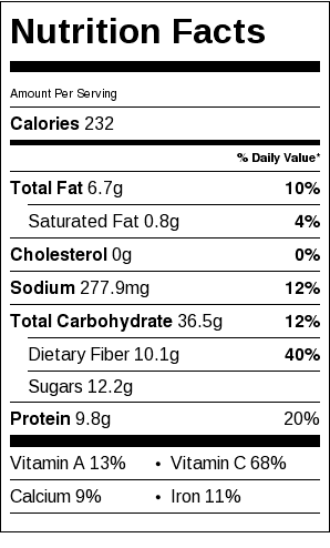 Tomato and Chickpea Soup Nutrition Label