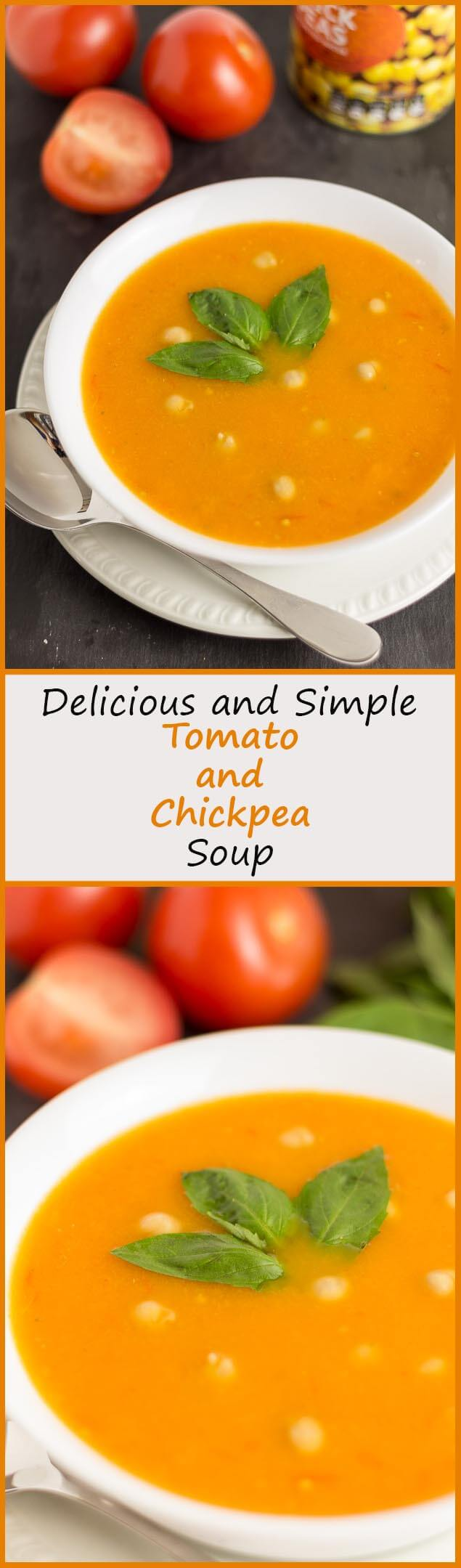 Delicious and simple, this low calorie tomato and chickpea soup is a comforting and soul-warming recipe. A perfect way to use up over ripe tomatoes or those ones you find reduced in your local supermarket. Either way, this is a simple recipe you'll want to make over and over again.