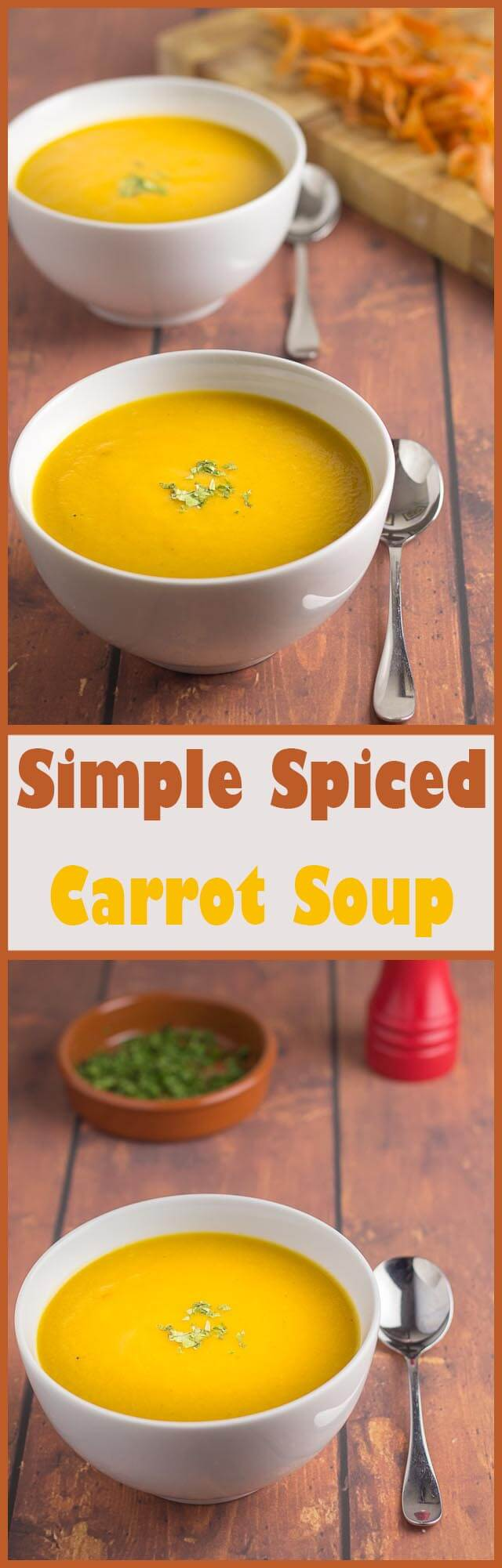 This simple spiced carrot soup is vegan, gluten free and paleo. It proves that healthy eating doesn't have to be a complicated or expensive. I think you're going to love this tasty, delicately spiced, healthy lunchtime meal.