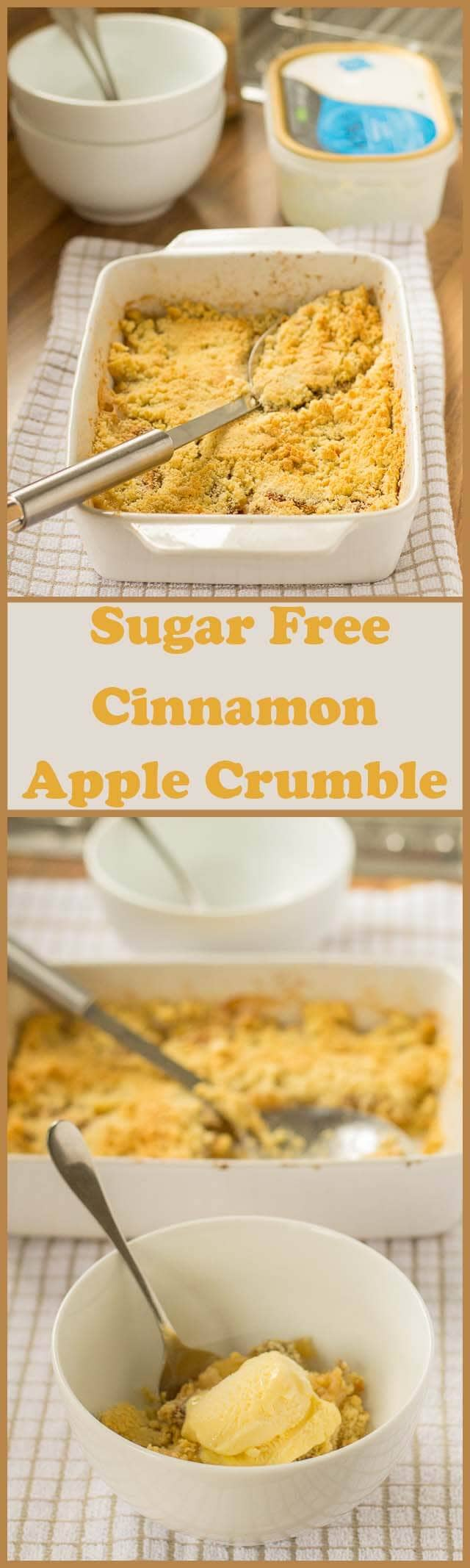 Enjoy this deliciously sweet, sugar free, cinnamon apple crumble knowing that it's much healthier than the traditional sugar laden alternative. This is an incredibly simple pudding recipe too, bursting with fruit and made with only 5 ingredients; it's perfect for dinner parties, so you can let the conversation flow instead of being stuck in the kitchen!