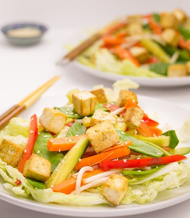 This really is a simple Asian tofu salad and it's made from a delicious combination of far eastern flavours and fresh ingredients. Here, the combined sesame marinated tofu and zingy balsamic, soy dressed salad makes a fantastic and easily prepared quick healthy meal!