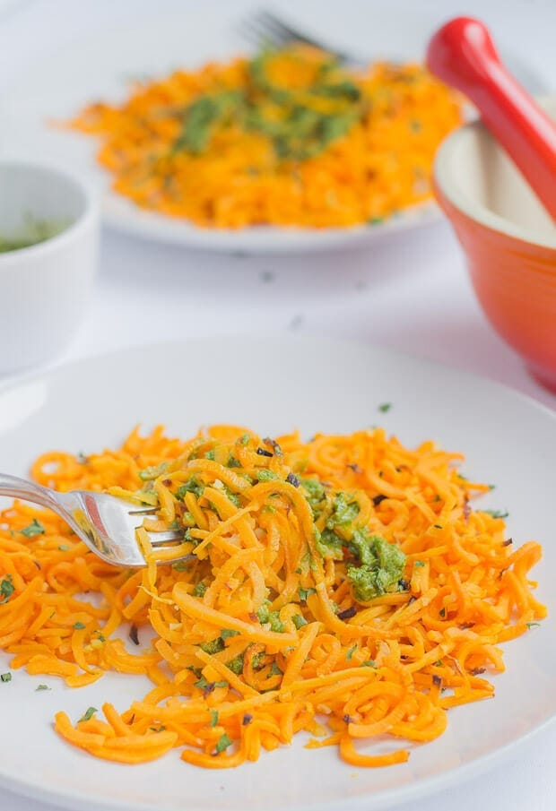 Baked Spiralized Sweet Potato with Spinach Pesto