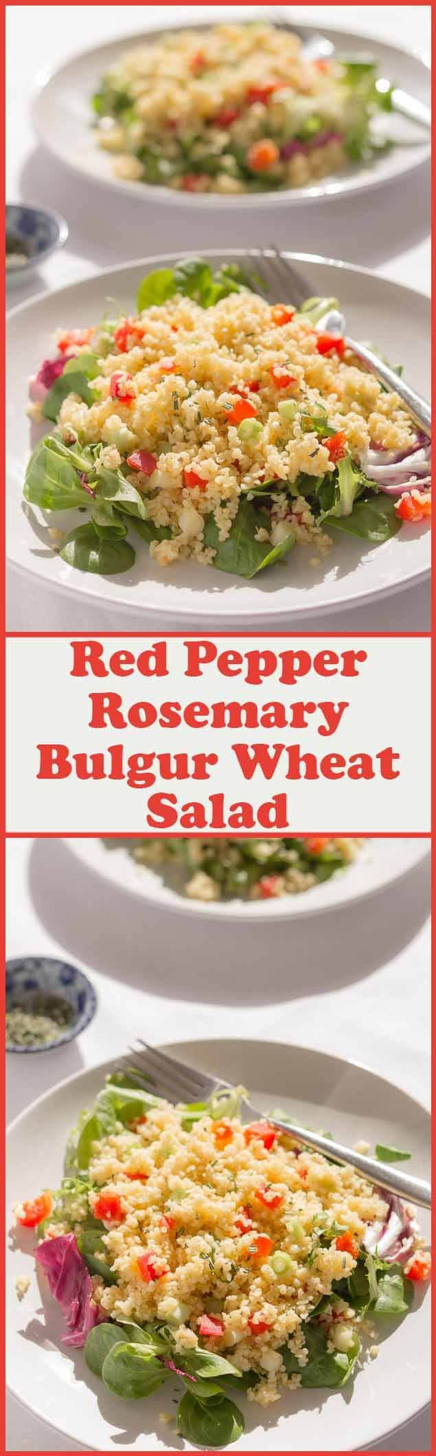 This red pepper and rosemary bulgur wheat salad is just the thing for a simple, quick healthy meal. Delicious hot or cold, it keeps you fuller for longer satisfying your hunger.