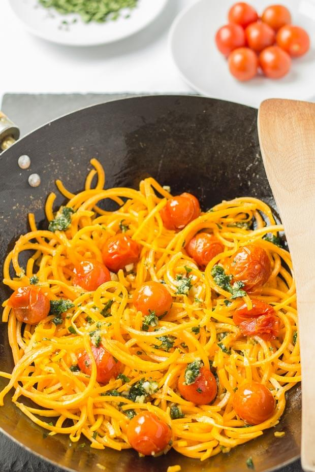 This delicious butternut squash noodles with spring pesto and roasted tomatoes dish can be ready in just over half an hour. It's a fantastic healthy, low carb alternative to pasta made with pretty much the minimum of effort, and it's all fresh ingredients.