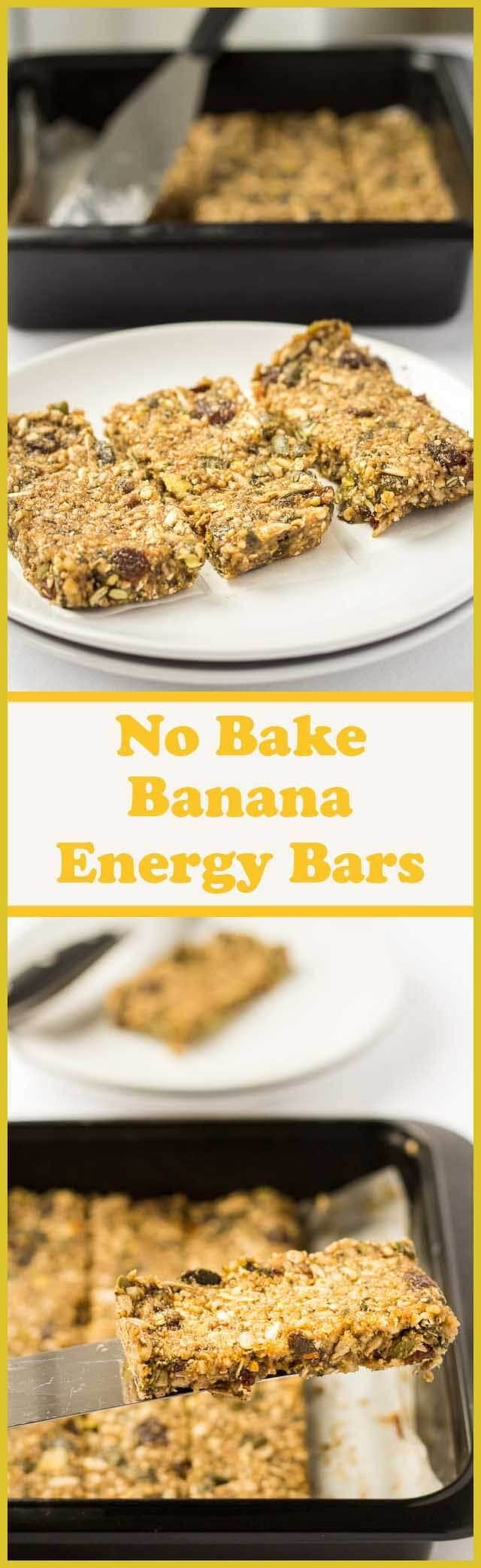 These no bake banana energy bars make a fantastic tasty snack that will help boost your energy levels and keep you fuller for longer. Stuffed full of healthy fruits, seeds and nuts, they're refined sugar free and only 259 calories each making them perfect healthy pick me up!