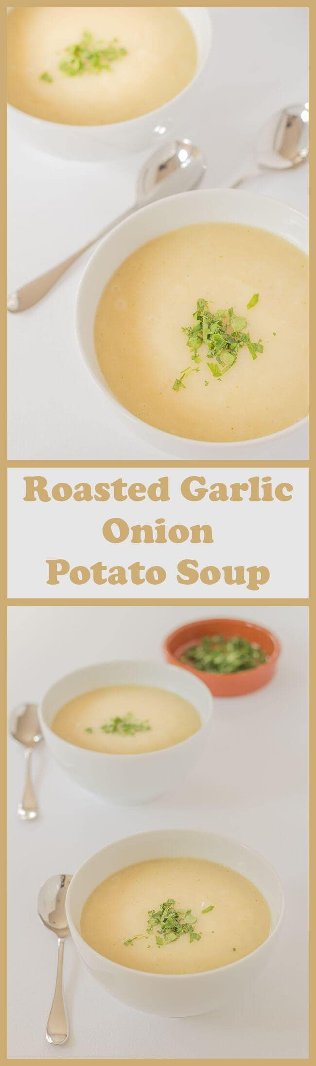 This roasted garlic onion potato soup is made from just 6 ingredients, it's vegan and is a perfect way to use up surplus potatoes.