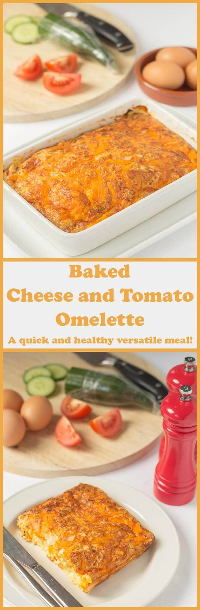 This simple baked cheese and tomato omelette throws convention out of the window. It's delicious and cheesy and it doesn't require you to be standing at the stove to make it. It's baked in the oven and with just 5 ingredients it's incredibly easy to make too!