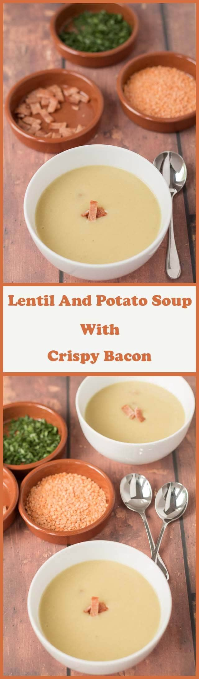 Lentil and potato soup with crispy bacon is really easy to make. With just four ingredients you can have this recipe on the table in less than one hour!